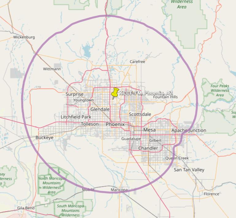 KVCP 88.3 FM Phoenix Coverage Map