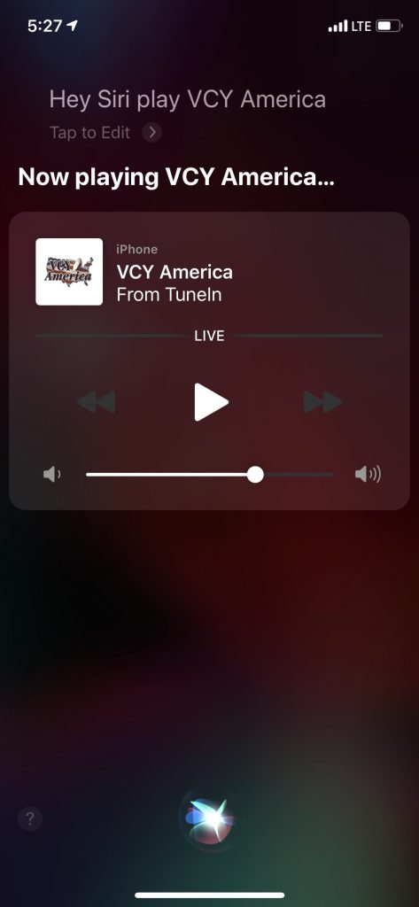 "Apple ""Hey Siri, Play VCY America"""