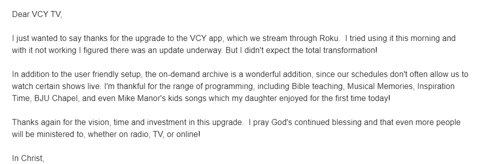 What do viewers say about VCY.tv?